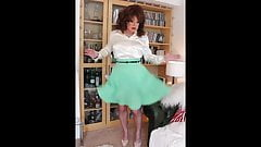 Mint green pleated skirt and cream blouse