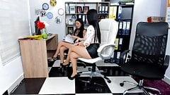 Secretary In Short Skirt