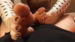 Nice POV footjob with some toes in your face!