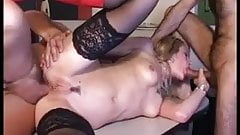 Office girl in little red panties take on two cocks