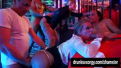 Lustful party babes fucking in orgy