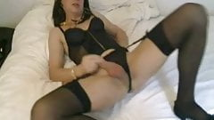 Andrea strips and cums for her lover
