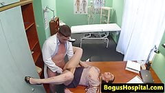 Gushing secretary fucked on doctors desk