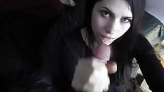 Hot Emo girl Sucks Colossal Cock, facial