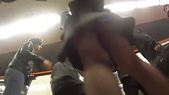 Black Pantyhose girl in train