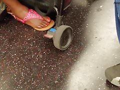 Candid ebony bbw meaty feet and mature ebony foot on train