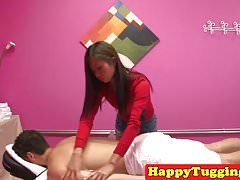 Oriental masseuse rides and wanks