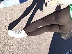 Blonde in tight yoga pants