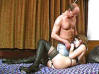 Naughty amateur girlfriend enjoys 3 dicks at once