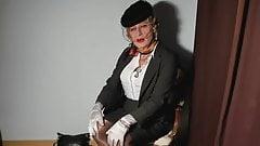 transvestite in seamed nylon stockings
