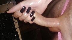 long nails cum handjob