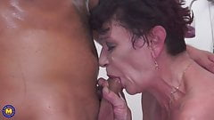 Grandmother gets warm visit and cumshot