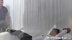 Bound hunk endures feet licking and toe sucking from master