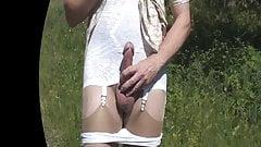 Pantyhose Strip and Cumshot