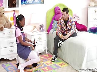 Preview 1 of Ebony Teen With Pigtails Fucks White Cock