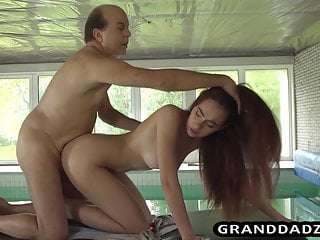 Young masseuse is so horny so she fucks the old grandpa