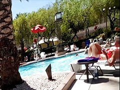 Vacation pool bikini girls