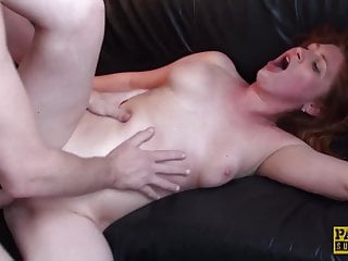 Raunchy subslut Princess Paris slurps cum after rough plow