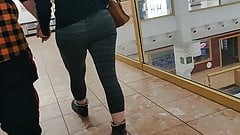 Leggings ass walking candid