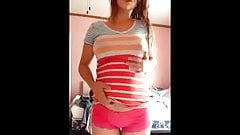 Pregnant teen strips and plays