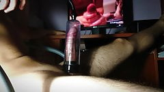 CUMSHOT edging and teasing big cock with PUMP and TOYS
