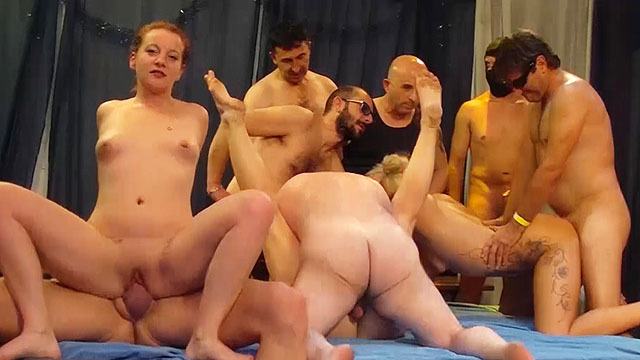 wild german group bang fuck party