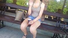 Train station smoker girl