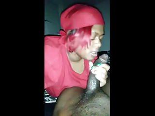 Ebony Gf blow job cumshot