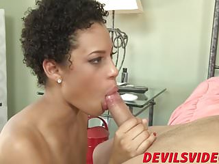 Cute short haired ebony babe Amethyst has wild fuck session
