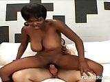 Amateur ebony enjoys doing a white cock