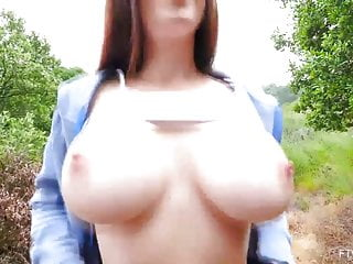 Lilian Showing Her Big MILF Tits Outdoors and Masturbating