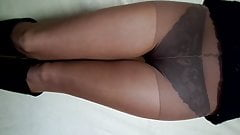 Fishnet panties under nylon pantyhose, nylon fetish