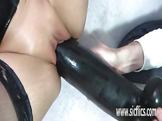 Colossal dildo fucking mature amateur milf