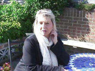 Mature hot breasts - Hot big breasted mature mother in the garden