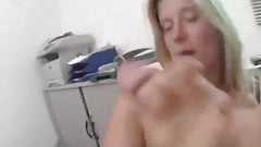 Busty blonde wife blowjob with cumshot on tits
