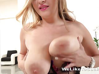 Big tits sucks cock and takes mouthful of cum