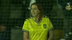Brondby soccer fan flashes nice boobs in public