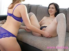 Lesbea Young girls with tight natural bodies face sitting