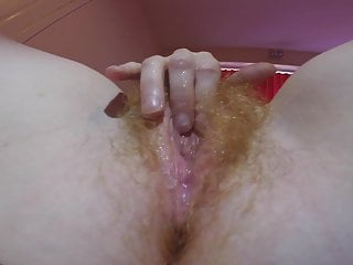 Hairy RedHead wife and the Huge Black dildo