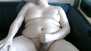 Chubby wanks his little dick in front of webcam