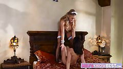 Remarkable milf blonde with big tits scissors a hot teen