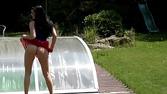 Fresh air for the pussy 4K No Panties Short Skirt in Garden's Thumb