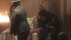 Two hot-blooded babes need their pussies pounded hard in front of the fire