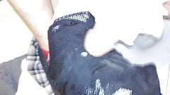Cum on mommy's black lace panties