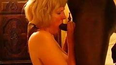 Mature blonde sucks big black cock