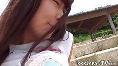 Nubile Japanese amateur fingered in public closeup