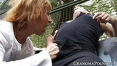 Old babe rips studs clothes before public doggystyle