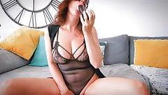 Wife masturbating with a black dildo