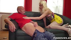 Amateur Skinny German bitch sucks old cocks