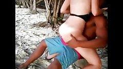 White girl fucks black guy on beach